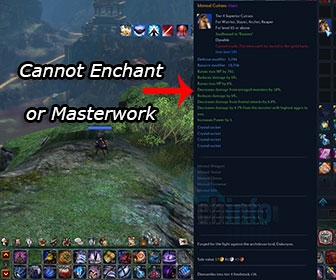Tera Online – Gear not able to Masterwork or Enchant